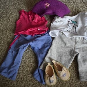 American Girl Outfit: two outfits, shoes, and hat